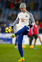 Chelsea's Gary Cahill warming up ahead of the Premier League match at the John Smith's Stadium, Huddersfield.