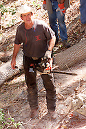 U.S. President George W. Bush takes a break from using a chainsaw to cut up a hackberry tree on his Crawford, Texas Prarie Chapel Ranch August 25, 2001.  Bush is winding up a nearly month-long working vacation at the ranch.  REUTERS/Rick Wilking