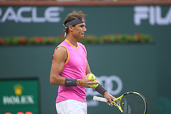 March 10, 2019 - Indian Wells, CA, U.S. - INDIAN WELLS, CA - MARCH 10: Rafael Nadal (ESP) prepares to serve during the BNP Paribas Open on March 10, 2019 at Indian Wells Tennis Garden in Indian Wells, CA. (Photo by George Walker/Icon Sportswire) (Credit Image: © George Walker/Icon SMI via ZUMA Press)
