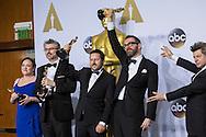 "88th Academy Awards press room.<br /> Best visual effects winners Andrew Whitehorse, Paul Norris, Mark Ardington, Sara Bennett for the film ""Ex Machina."""