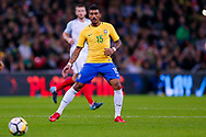 Brazil Barcelona midfielder Paulinho (15)  during the International Friendly match between England and Brazil at Wembley Stadium, London, England on 14 November 2017. Photo by Simon Davies.