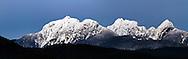 "Panorama of the ""Golden Ears"" Mountains - Blanshard Peak and Edge Peak from Pitt Meadows, British Columbia, Canada"