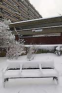 Snow covered Bench, Barbican, London, Britain, 2 Feb 2009