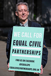 © Licensed to London News Pictures. 14/05/2018. London, UK. LGBT rights campaigner Peter Tatchell outside the Supreme Court as Rebecca Steinfeld and Charles Keidan seek a change in the law that will allow heterosexual couples to enter into civil partnerships. Steinfeld and Keidan, who have 'deep-rooted' ideological objections to the institution of marriage, have previously lost their case at the High Court and the Court of Appeal. Photo credit: Rob Pinney/LNP