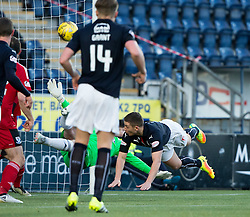 Ayr United's keeper Greg Fleming saves from Falkirk's John Baird. Falkirk 1 v 1 Ayr United, Scottish Championship game played 14/1/2017at The Falkirk Stadium .