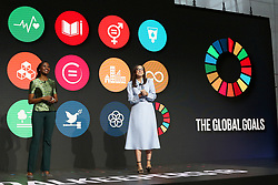 Nancy Kacungira and Savannah Sellers speak at the Bill and Melinda Gates foundation's Goalkeepers event at Jazz at Lincoln Center in New York.