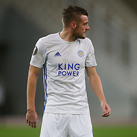 ATHENS, GREECE - OCTOBER 29: Jamie Vardyof Leicester City during the UEFA Europa League Group G stage match between AEK Athens and Leicester City at Athens Olympic Stadium on October 29, 2020 in Athens, Greece. (Photo by MB Media)
