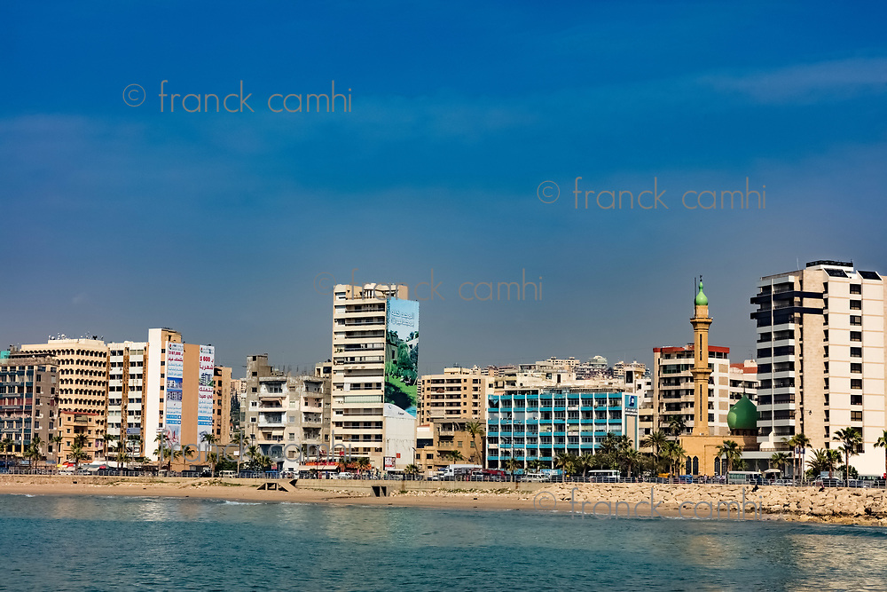 Sidon Saida skyline cityscape waterfront in South Lebanon Middle east