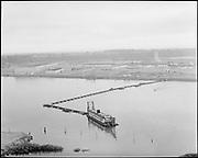 "Ackroyd 10971-3 ""Port  of Portland. Swan Island aerial. June 8, 1962"" (shows dredge line across Willamette)"