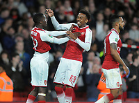 Football - 2017 / 2017 EFL (League) Cup - Fourth Round: Arsenal vs. Norwich City<br /> <br /> Hero Eddie Nketiah of Arsenal who scored two goals after coming on as a substitute jokes with team mate Joe Willock after the match at The Emirates.<br /> <br /> COLORSPORT/ANDREW COWIE