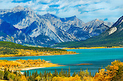 Abraham Lake and the Rocky Mountains<br /> East of Banff NP on the David Thompson Highway<br /> Alberta<br /> Canada