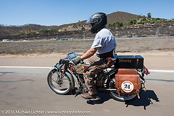 Kelly Modlin of Kansas riding his 1914 Excelsior on the last day of the Motorcycle Cannonball Race of the Century. Stage-15 ride from Palm Desert, CA to Carlsbad, CA. USA. Sunday September 25, 2016. Photography ©2016 Michael Lichter.