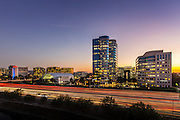 Irvine Business Complex and the 405 Freeway at Sunset
