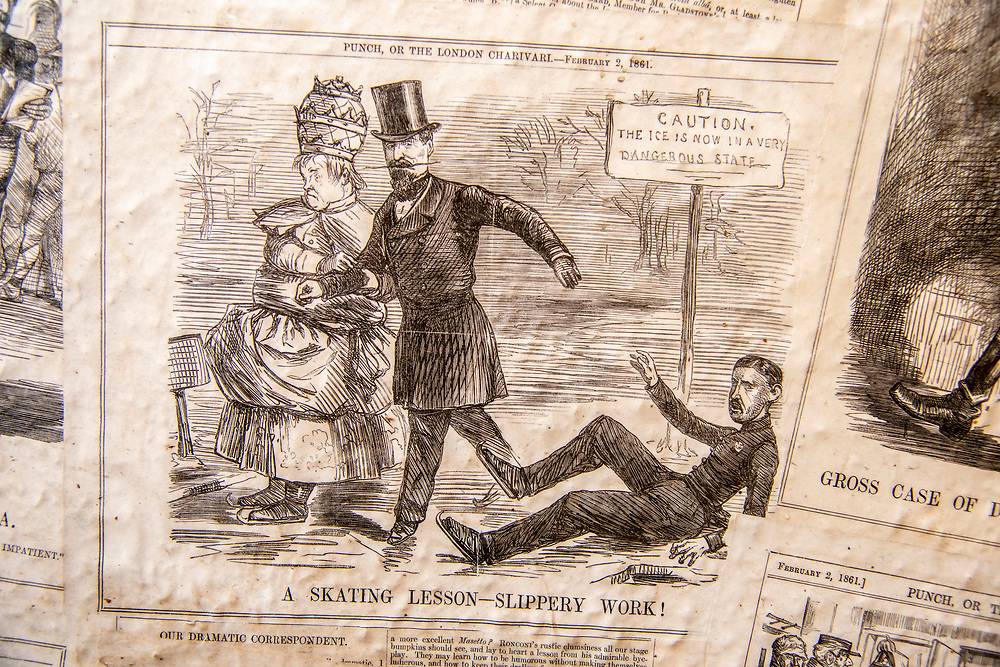 Old newspaper cartoon from Punch makes fun of the political climate of the times