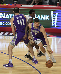October 12, 2017 - Los Angeles, California, U.S - Bogdan Bogdanovic #8 of the Sacramento Kings dribbles the ball during their preseason game against the Los Angeles Clippers on Thursday October 12, 2017 at the Galen Center in USC in Los Angeles, California. Clippers defeat Kings, 104-87. (Credit Image: © Prensa Internacional via ZUMA Wire)