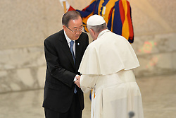 October 5, 2016 - Vatican City, Vatican - Ban Ki Moon and Pope Francis during Conference Sport at service of humanity, at the Vatican on october 05, 2016  The goal of the conference is to create a forum where leaders from different religious faiths, sports, business, academia and media can discuss how faith and sport can work together to better serve humanity. (Credit Image: © Silvia Lore/NurPhoto via ZUMA Press)