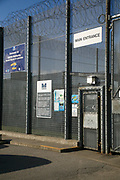 The main entrance to HMP/YOI Wetherby, a male juveniles prison with a capacity of 336 trainees located in Wetherby, West Yorkshire, United Kingdom. The prison is operated by Her Majesty's Prison Service. Wetherby caters for juveniles serving a Detention & Training Order Sentence of up to 2 years and those remanded into custody from sentencing courts within the catchment area and is home to the United Kingdom's only behind-bars army cadet unit. (Photo by Andy Aitchison)
