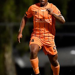 BRISBANE, AUSTRALIA - NOVEMBER 3: Delors Tuyishime of Eastern Suburbs dribbles the ball during the NPL Queensland Senior Mens Round 9 match between Eastern Suburbs FC and Gold Coast Knights at Heath Park on November 3, 2020 in Brisbane, Australia. (Photo by Patrick Kearney)