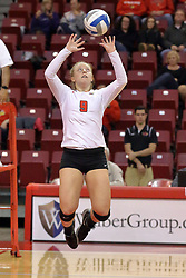 06 November 2015:  Jacqueline Twing(9) during an NCAA women's volleyball match between the Bradley Braves and the Illinois State Redbirds at Redbird Arena in Normal IL (Photo by Alan Look)