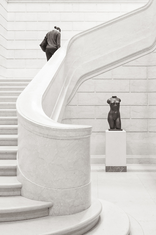 Stairs and sculpture at the National Gallery of Art, Washington, D.C.