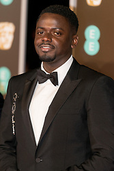 © Licensed to London News Pictures. 18/02/2018. DANIEL KALUUYA arrives on the red carpet for the EE British Academy Film Awards 2018, held at the Royal Albert Hall, London, UK. Photo credit: Ray Tang/LNP