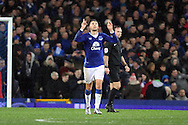 Kevin Mirallas of Everton celebrates after scoring his teams 2nd goal. The Emirates FA cup, 3rd round match, Everton v Dagenham & Redbridge at Goodison Park in Liverpool on Saturday 9th January 2016.<br /> pic by Chris Stading, Andrew Orchard sports photography.
