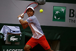 May 30, 2019 - Paris, France - Yoshihito Nishioka of Japan in action during his mens singles second round match against Juan Martin Del Potro of Argentina during Day five of the 2019 French Open at Roland Garros on May 30, 2019 in Paris, France. (Credit Image: © Ibrahim Ezzat/NurPhoto via ZUMA Press)