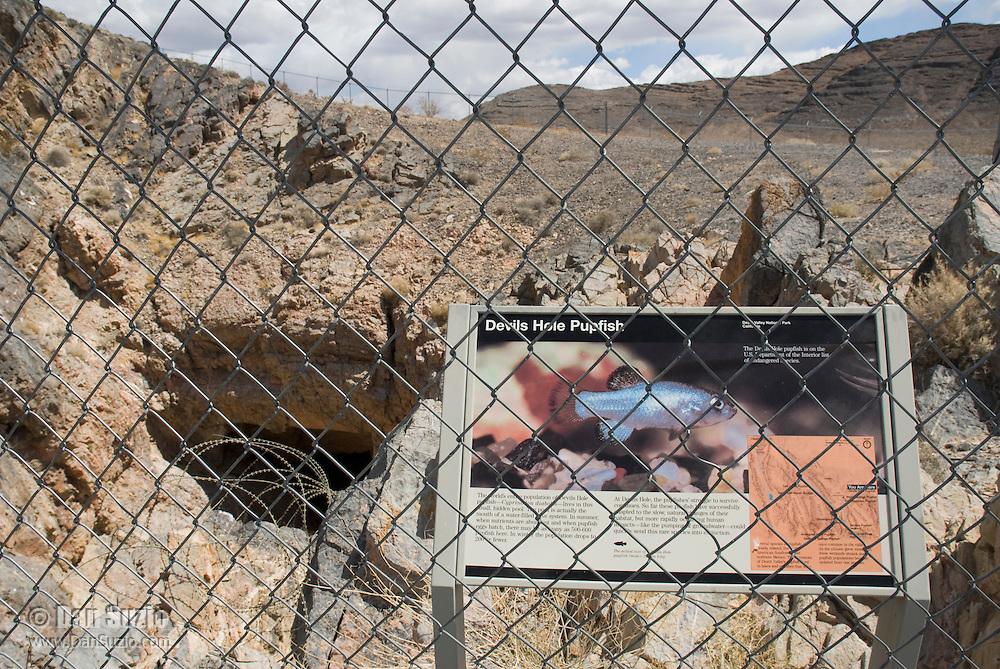 Sign at entrance to Devils Hole, habitat of Devils Hole pupfish, Cyprinodon diabolis. Ash Meadows National Wildlife Refuge, Nevada