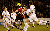 Photo: Aidan Ellis.<br /> Sheffield Utd v Luton Town. Coca Cola Championship.<br /> 01/11/2005.<br /> Sheffield's Chris Morgan leaps to score the sedcond goal with his head