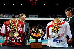 12-02-2012 VOLLEYBAL: BEKERFINALE EUPHONY ASSE LENNIK - NOLIKO MAASEIK: ANTWERPEN<br /> Noliko Maaseik wint vrij eenvoudig de beker van Belgie. In de finale waren zij met 25-21 25-18 en 25-19 te sterk voor Asse Lennik / Ceremonie medaille cup beker item volleybal<br /> ©2012-FotoHoogendoorn.nl