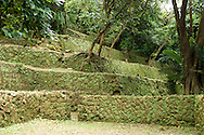 The stepped walls to the military camp site at Ershawan Fort (?????) in Keelung, Taiwan (?????).
