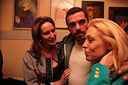 Caroline Michel, Matthew Buckham  and Tanya Wade. Matthew buckham  painting exhibition. Maison Bertaux. Soho. London. 28 March 2007.  -DO NOT ARCHIVE-© Copyright Photograph by Dafydd Jones. 248 Clapham Rd. London SW9 0PZ. Tel 0207 820 0771. www.dafjones.com.