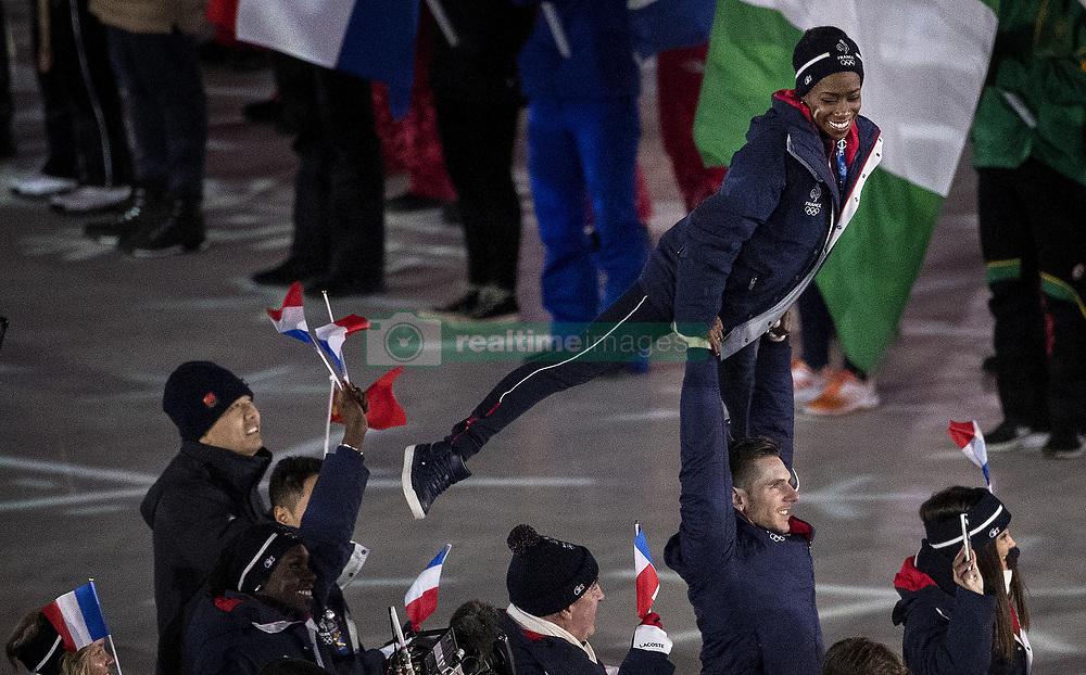 February 25, 2018 - Pyeongchang, KOR - French athletes enter Pyeongchang Olympic Stadium during the Closing Ceremony of the 2018 Pyeongchang Winter Olympics on Sunday, February 25, 2018 in South Korea. (Credit Image: © Carlos Gonzalez/TNS via ZUMA Wire)