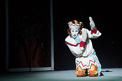 © Licensed to London News Pictures. 24/07/2013. English National Ballet's A Tribute To Rudolf Nureyev at the London Coliseum. Benois de la Danse winner Vadim Muntagirov performs in Song of a Wayfarer and Raymonda, Tamara Rojo in Raymonda and with Fabian Reimair in Petrushka. Picture shows Petrushka with Fabian Reimair (Petrushka). Photo credit: Tony Nandi/LNP