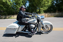 Jen Shade on her bagger on the Harley-Davidson Angels Ride to benefit the Nature Conservancy during the annual Sturgis Black Hills Motorcycle Rally.  SD, USA.  August 12, 2016.  Photography ©2016 Michael Lichter.