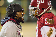 Trinity coach Terrence Curry has words with Darion Smith after being called with a personal foul during the Class 3 District 3 championship football game on Friday, Nov. 9, 2018, at Trinity Catholic High School in Spanish Lake, Mo.  Gordon Radford   Special to STLhighschoolsports.com