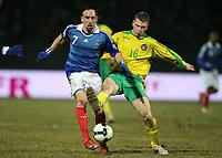 Fotball<br /> Litauen v Frankrike<br /> Foto: DPPI/Digitalsport<br /> NORWAY ONLY<br /> <br /> FOOTBALL - FIFA WORLD CUP 2010 - QUALIFYING ROUND - GROUP 7 - LITHUANIA v FRANCE - 28/03/2009 - FRANCK RIBERY (FRA) / KESTTUTIS IVASKEVICIUS (LIT)