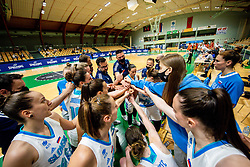 Team Slovenia during friendly basketball match between Women National Teams of Slovenia and Montenegro, on May 21, 2021 in Arena Tri Lilije, Lasko, Slovenia. Photo by Vid Ponikvar / Sportida