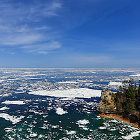 """""""Icebergs at Miner's Castle""""<br /> <br /> An amazing view of Lake Superior and Miner's Castle in late spring of 2014. Plenty of icebergs remain in Munising Bay, while solid ice is still further out on the lake!!<br /> <br /> The Great Lakes by Rachel Cohen"""