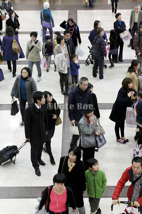 overhead view of crowd Japan
