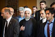 NUE21 - NUEVA YORK(EEUU), 28/9/15.- El presidente iraní Hasán Rouhaní a la salida a la Asamblea de las Naciones Unidas en Nueva York EFE/Edu Bayer