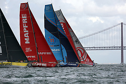 November 3, 2017 - Lisbon, Portugal - (L-R) Team Brunel captained by Dutch Bouwe Bekking, MAPFRE team captained by Spanish Xabi Fernandez, Vestas 11th Hour Racing team captained by American Charlie Enright and Dongfeng Race team captained by French Charles Caudrelier in action during the Volvo Ocean Race 2017-2018 In-port Race at the Tagus River in Lisbon, Portugal on November 3, 2017. (Credit Image: © Pedro Fiuza/NurPhoto via ZUMA Press)