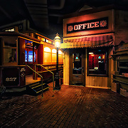 Photo of the Milwaukee Street Railway trolley car and North Side Lumber and Fuel office in the Streets of Old Milwaukee at the Milwaukee County Museum.