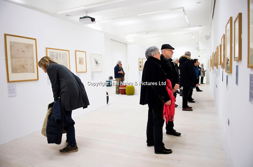 13 January 2017: Art by some of the most prominent great masters, including Michelangelo, Matisse and Rembrandt, are on show in Hull as part of UK City of Culture.<br /> Lines of Thought is a free exhibition of 70 line drawings spanning more than 500 years from the British Museum's prestigious collection. It is being held at the University of Hull.<br /> Leonardo da Vinci, Dürer, Degas, Rubens, Monet, Cézanne and Bridget Riley are also featured.<br /> It runs until 28 February.<br /> The exhibition will then visit Poole and Belfast before travelling to the US.<br /> Picture: Sean Spencer/Hull News & Pictures Ltd<br /> 01482 210267/07976 433960<br /> www.hullnews.co.uk         sean@hullnews.co.uk