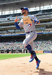 May 2, 2018 - Minneapolis, MN, U.S. - MINNEAPOLIS, MN - MAY 02: Toronto Blue Jays Center field Kevin Pillar (11) takes the field during a MLB game between the Minnesota Twins and Toronto Blue Jays on May 2, 2018 at Target Field in Minneapolis, MN.The Twins defeated the Blue Jays 4-0.(Photo by Nick Wosika/Icon Sportswire) (Credit Image: © Nick Wosika/Icon SMI via ZUMA Press)