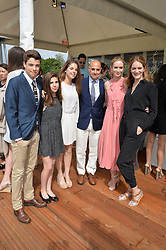 Left to right, NICOLO TUCCI, CAMILLA TUCCI, ISABEL TUCCI, STANLEY TUCCI, EMILY BLUNT and FELICITY BLUNT at the Audi Polo Challenge at Coworth Park, Blacknest Road, Ascot, Berkshire on 31st May 2015.