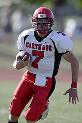 07 October 2006: Red Man Brennan O'Boyle. The Titans of Illinois Wesleyan University started off strong with a touchdown on the 2nd play from scrimmage in the game.  The Titans led most of the way, but failed to maintain the lead in the 4th quarter giving up the decision of this CCIW conference game to the Red Men of Carthage by a score of 31 - 28. Action was at Wilder Field on the campus of Illinois Wesleyan University in Bloomington Illinois.<br />