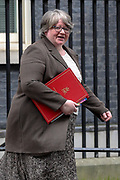 Work and Pensions Secretary Therese Coffey leaves Downing Street, London, on Tuesday, Mar 17, 2020 - the day after Prime Minister Boris Johnson called on people to stay away from pubs, clubs and theatres, work from home if possible and avoid all non-essential contacts and travel in order to reduce the impact of the coronavirus pandemic. (Photo/Vudi Xhymshiti)