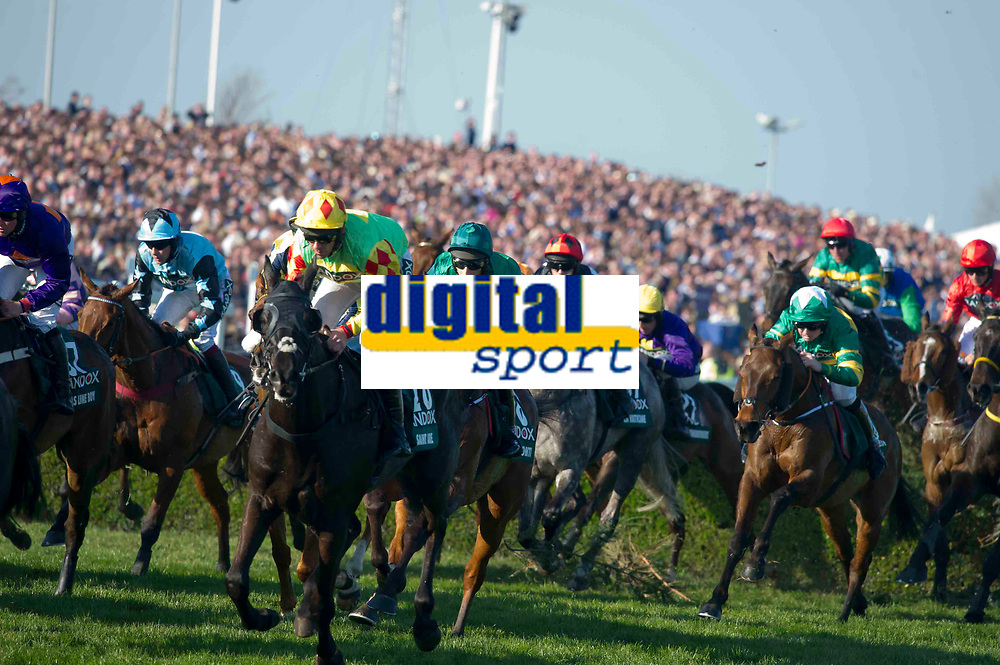 National Hunt Horse Racing - 2017 Randox Grand National Festival - Saturday, Day Three [Grand National Day]<br /> <br /> The field jump the water jump with 3rd placed Saint Are in the foreground in  the 5.15, the Randox Health Grand National  at Aintree Racecourse.<br /> <br /> COLORSPORT/WINSTON BYNORTH<br /> <br /> <br /> <br /> <br /> <br /> <br /> <br /> <br /> <br /> <br /> National Hunt Horse Racing - 2017 Randox Grand National Festival - Saturday, Day Three [Grand National Day]<br /> <br />  in the 1st race the 1.45 Gaskells Handicap Hurdle at Aintree Racecourse.<br /> <br /> COLORSPORT/WINSTON BYNORTH