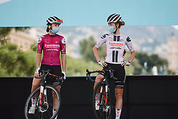 Liane Lippert (GER) and Floortje Mackaij (NED) on stage at the 2020 La Course By Le Tour with FDJ, a 96 km road race in Nice, France on August 29, 2020. Photo by Sean Robinson/velofocus.com